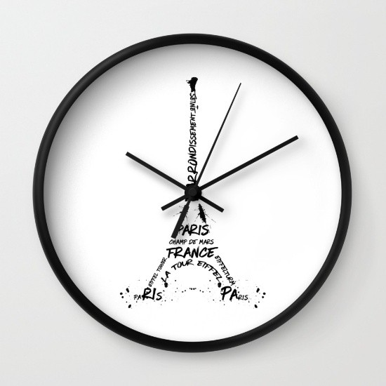 "Link SOCIETY6.COM Wanduhr / Wall Clock ""Digital-Art Eiffel Tower"""