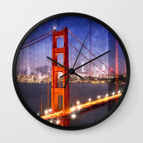 "Link SOCIETY6.COM Wanduhr / Wall Clock ""City Art Golden Gate Bridge Composing"""
