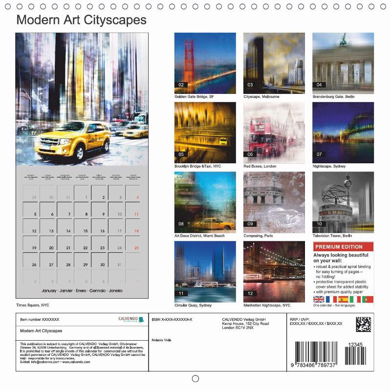 "CALENDAR (back) ""MODERN ART Cityscapes"""