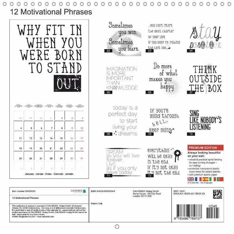 "CALENDAR (back) ""12 MOTIVATIONAL PHRASES"""