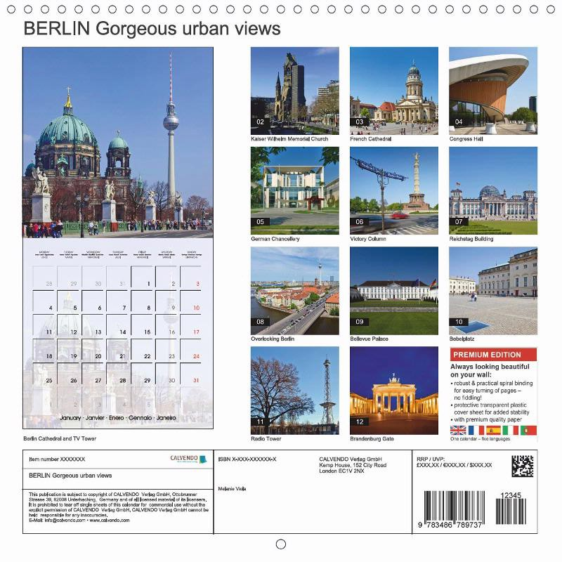 "CALENDAR (back) ""BERLIN Gorgeous Urban Views"""