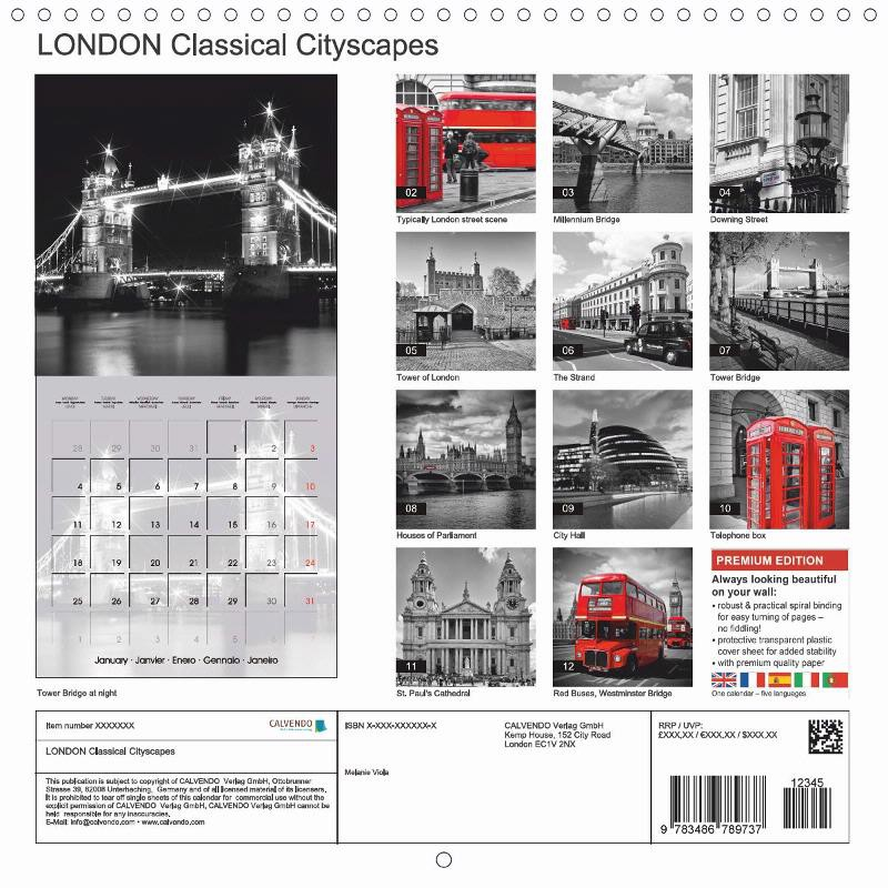 "CALENDAR (back) ""LONDON Classical Cityscapes"""