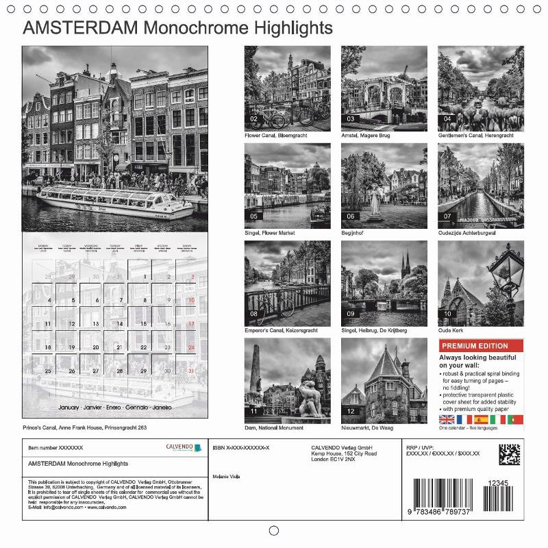 "CALENDAR (back) ""AMSTERDAM Monochrome Highlights"""