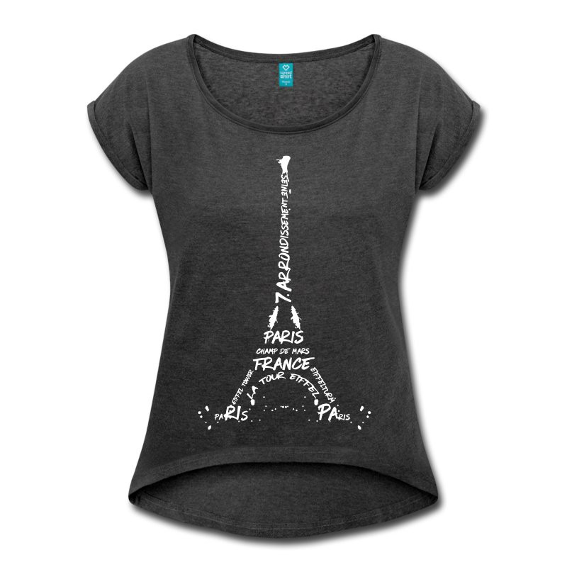 "LINK - SPREADSHIRT Shirt mit gerollten Ärmeln ""Digital Art Eiffel Tower"""
