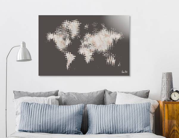 GRAPHIC ART Abstract World Map | rose gold & marble - Link CURIOOS