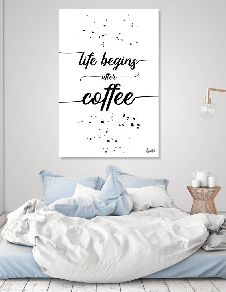 LINK - CURIOOS - Acrylic Glass Print - TEXT ART Life begins after coffee