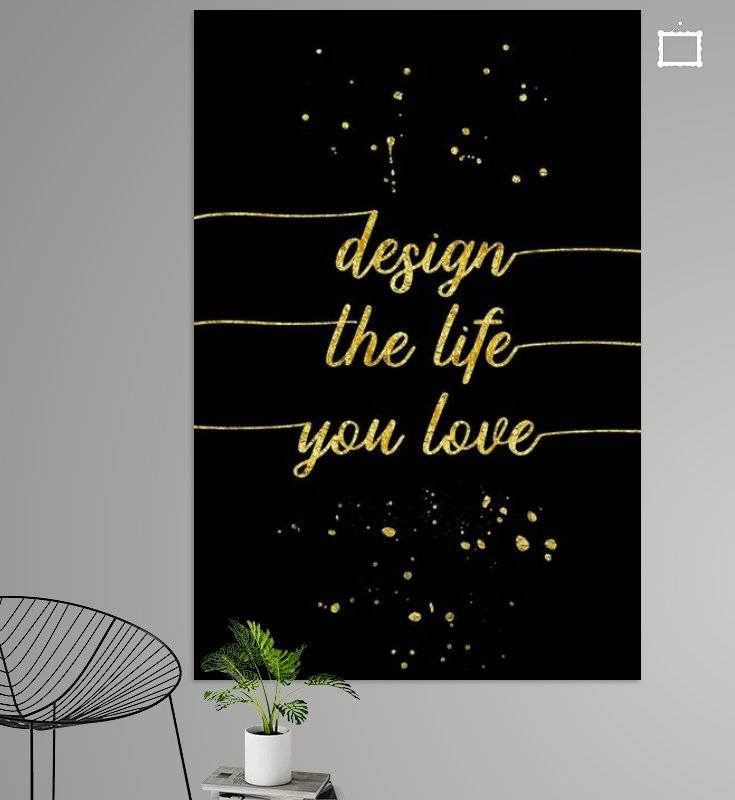 "Link - OhMyPrints - ""TEXT ART GOLD Design the life you love"""