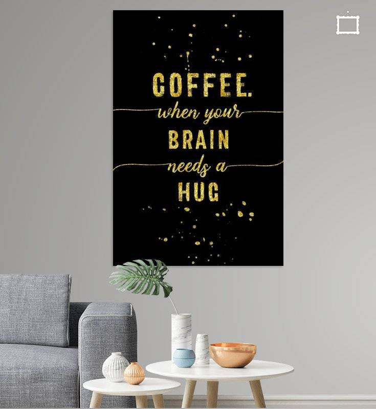 "Link - OhMyPrints - ""TEXT ART GOLD Coffee - when your brain needs a hug"""
