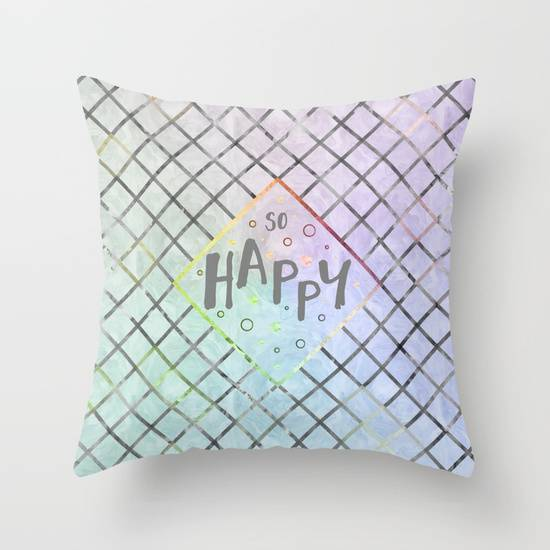 "Link SOCIETY6 Throw Pillow ""Text Art SO HAPPY 