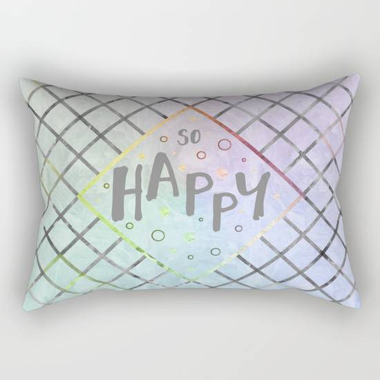 "Link SOCIETY6 Rectangular Pillow ""Text Art SO HAPPY 